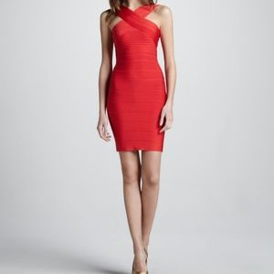 Red Herve Lever Bandage Dress XS